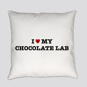 I Heart My Chocolate Lab Everyday Pillow