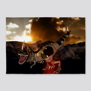 Awesome T-rex with armor in the sunset 5'x7'Area R