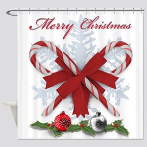 Candy Canes Merry Christmas decorat Shower Curtain