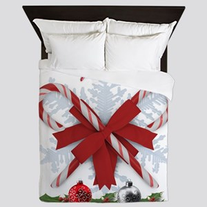 Candy Canes Merry Christmas decoration Queen Duvet