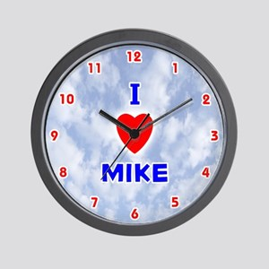 I Love Mike (Red/Bl) Valentine Wall Clock