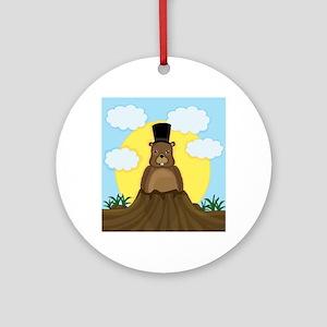 Groundhog day Round Ornament