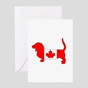 "Basset Hound ""Canadian Flag"" Greeting Cards"