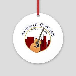 Nashville, TN Music City USA-RD Round Ornament