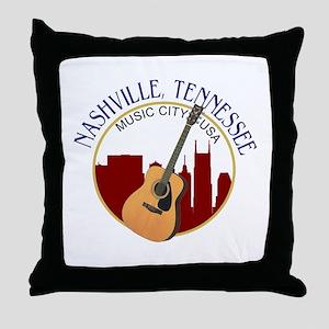 Nashville, TN Music City USA-RD Throw Pillow