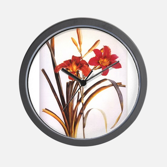 Lillies Watercolor by Redoute Wall Clock