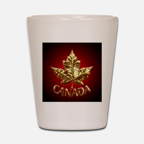 Gold Canada Maple Leaf Shot Glass