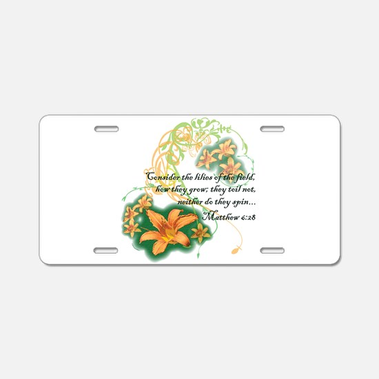 Lilies of the Field Aluminum License Plate