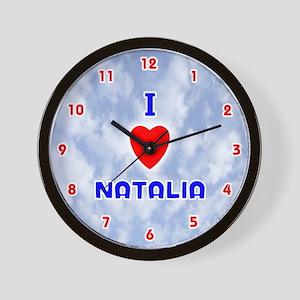 I Love Natalia (Red/Bl) Valentine Wall Clock