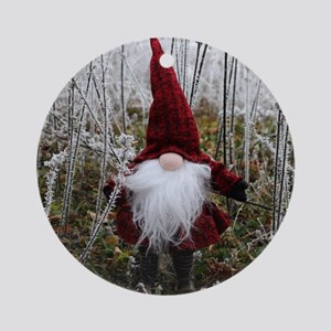 RED HATTED GNOME Round Ornament