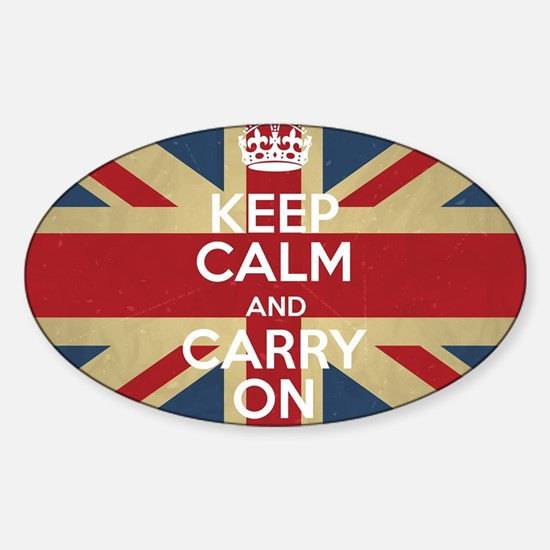 Cute Keep calm and carry on Sticker (Oval)
