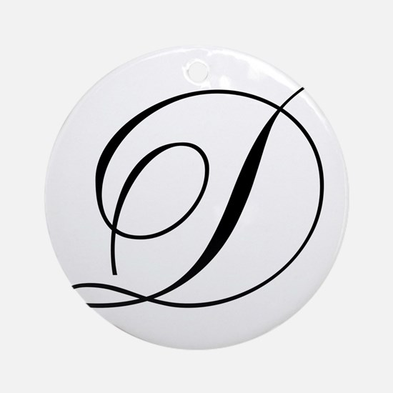 D Initial Black and White Sript Round Ornament