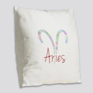 Aries (Zodiac symbol: Ram) (Ca Burlap Throw Pillow