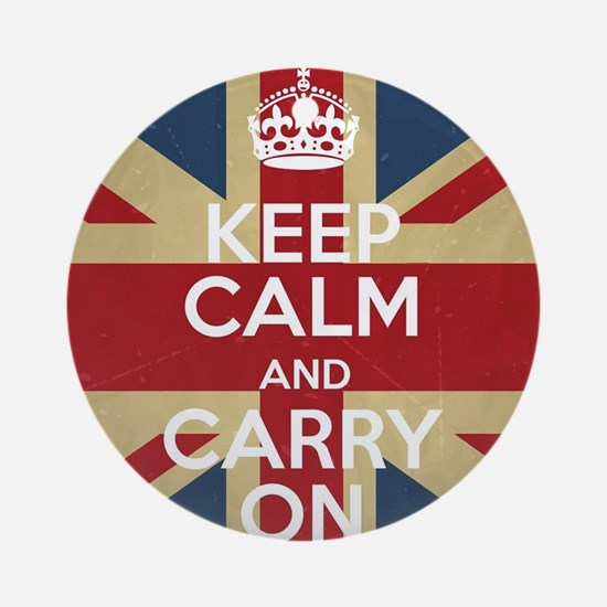 Keep Calm And Carry On Round Ornament