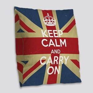 Keep Calm And Carry On Burlap Throw Pillow