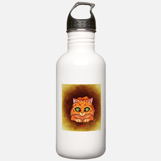 Orange Cat on Brown Water Bottle