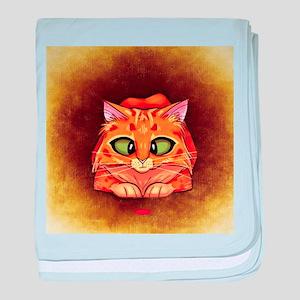 Orange Cat on Brown baby blanket