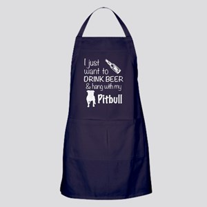 Beer And Pit Bull T Shirt Apron (dark)