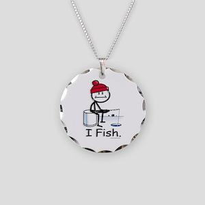 Ice Fishing Stick Figure Necklace Circle Charm