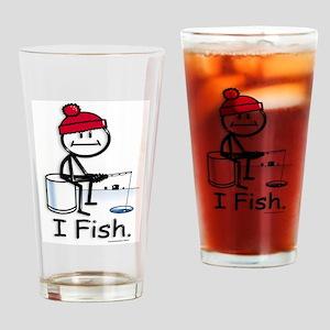 Ice Fishing Stick Figure Drinking Glass
