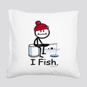 Ice Fishing Stick Figure Square Canvas Pillow