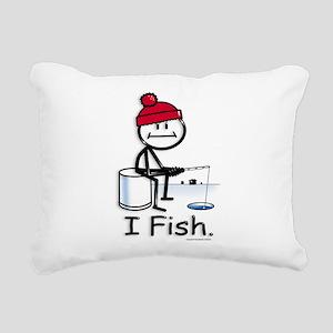 Ice Fishing Stick Figure Rectangular Canvas Pillow