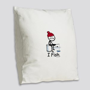 Ice Fishing Stick Figure Burlap Throw Pillow