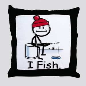 Ice Fishing Stick Figure Throw Pillow
