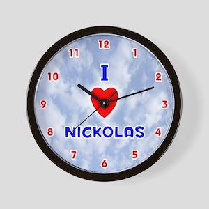 I Love Nickolas (Red/Bl) Valentine Wall Clock