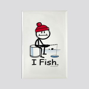 Ice Fishing Stick Figure Rectangle Magnet