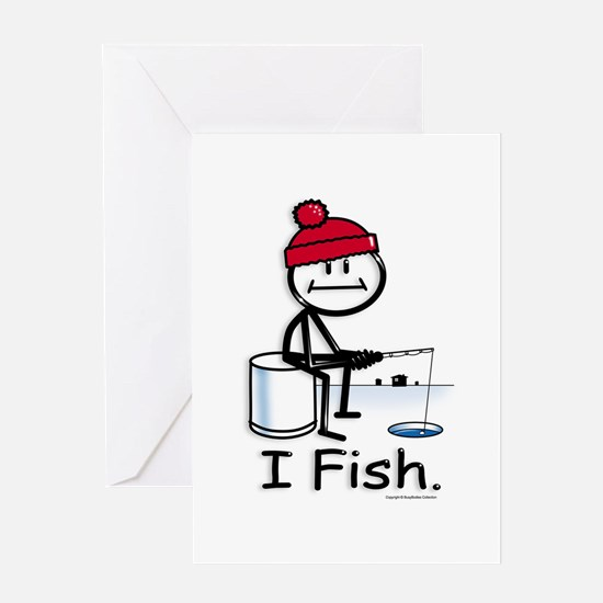 Ice Fishing Stick Figure Greeting Card