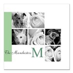 Monogram and Your Photos Here Square Car Magnet 3