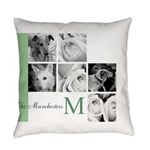 Monogram and Your Photos Here Everyday Pillow