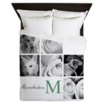 Monogram and Your Photos Here Queen Duvet