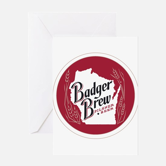Badger Brew Round Logo Greeting Cards