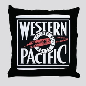 Western Pacific Railroad Feather Rout Throw Pillow