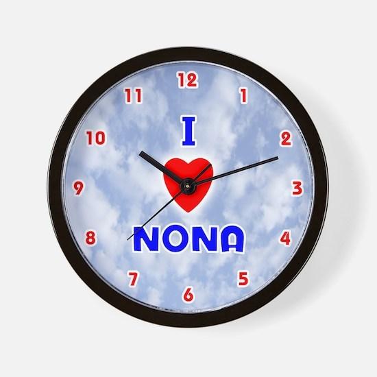 I Love Nona (Red/Bl) Valentine Wall Clock