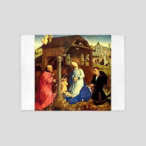 Birth of Christ Nativity by Weyden 5'x7'Area Rug
