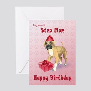 Birthday card for a step mom with a boxer puppy Gr