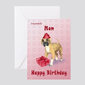 Birthday card for a mom with a boxer puppy Greetin