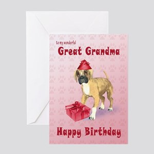 Birthday card for a great grandma with a boxer pup