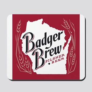 Badger Brew Beer Label Mousepad