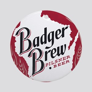 Badger Brew Beer Label Round Ornament