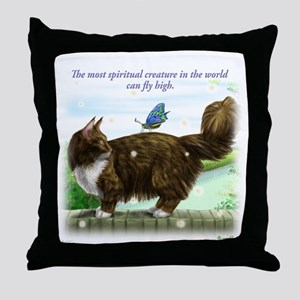 Comfortable Fly high cat Throw Pillow