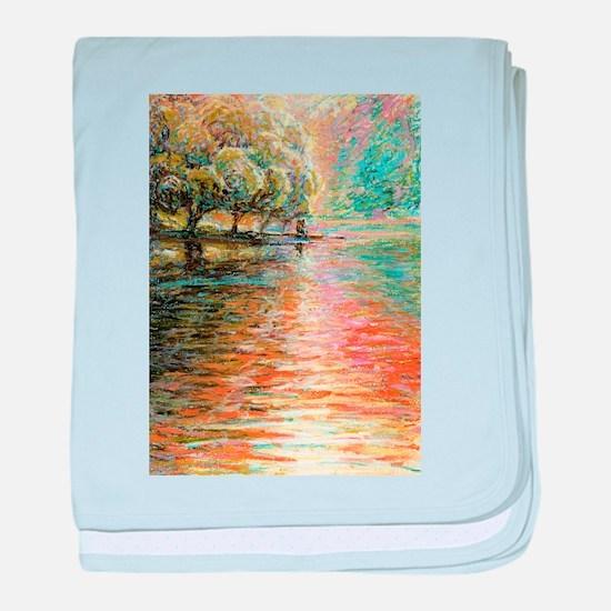 Quiet Lake in Pastel baby blanket