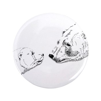 "Polar Bear & Cub 3.5"" Button (100 pack)"