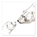 """Polar Bear & Cub Square Car Magnet 3"""" x 3"""""""