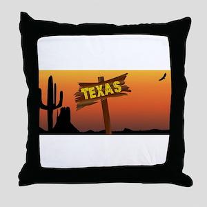 Texas Border Sign Throw Pillow