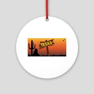 Texas Border Sign Round Ornament