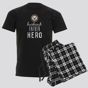 Navy Husband Father Hero Men's Dark Pajamas